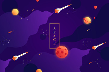 flying space rockets. space background with abstract shape and planets. Web design. space exploring. vector illustration