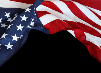 USA flag on black