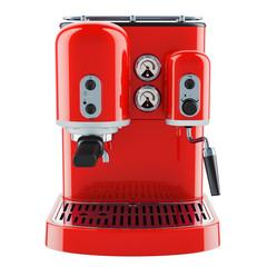 Red coffeemaker or coffee machine retro design. 3D rendering