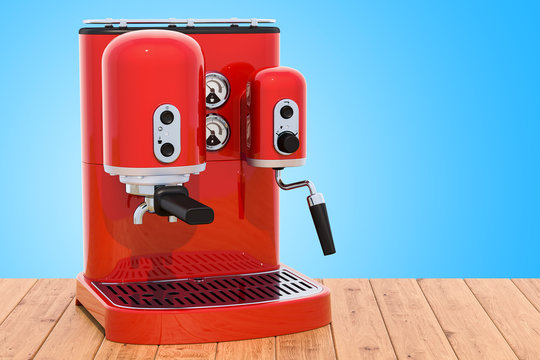 Red coffeemaker or coffee machine retro design on the wooden table. 3D rendering