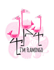 Cute pink flamingos on floral background, sketch for your design