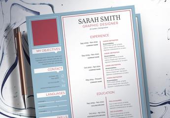 Resume Layout Set with Blue Sidebar