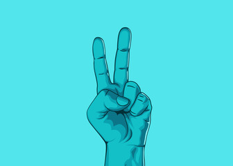 Male hand hand shows number two. Modern design. Vector illustration