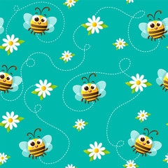 Seamless vector pattern of cute bees and daisies on blue green background.