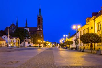 Kosciusko Main Square with Basilica in Bialystok at night, Poland.