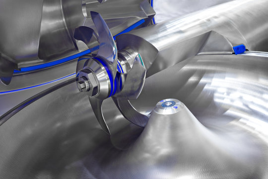 Industrial open mixer in food industry close-up