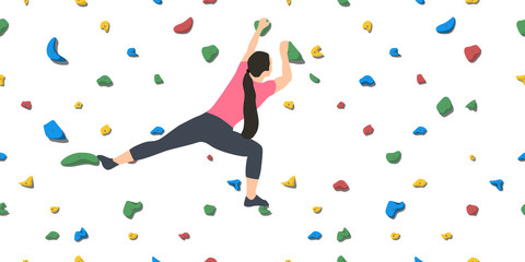 Woman on climbing wall