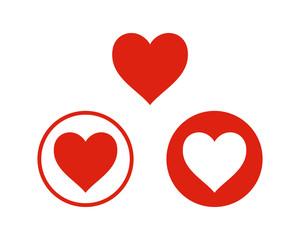 Red Heart Sign Symbol Icon Logo Vector Set