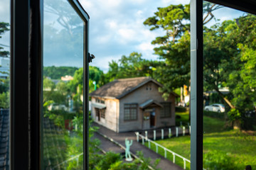 Open window at the Pine Garden in Hualien, Taiwan.