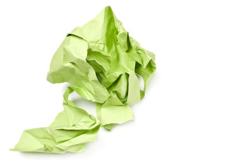 Crumpled paper on white background.