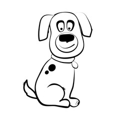 Black and white little dog character vector illustration