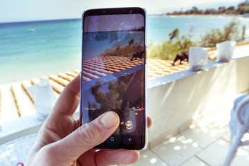 Close up hand holding smartphone taking sea view photo while sitting on beach chair on holiday
