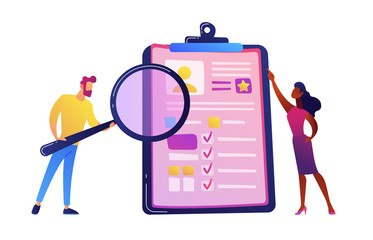 HR manager looking through a magnifying glass on job candidate CV vector illustration.