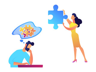 Businessman trying to solve puzzle and woman with necessary piece vector illustration.