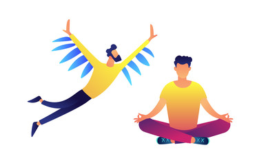 Businessman with wings flying and another meditating in lotus pose vector illustration.