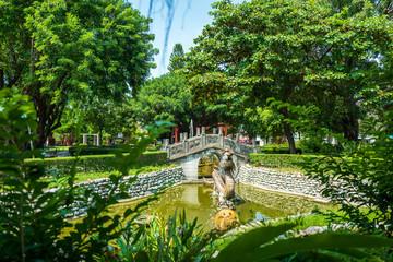 Park at Confuciuns temple in Tainan, Taiwan.