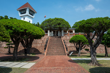 Watchtower at the Tainan Fort Zeelandia in Tainan, Taiwan.