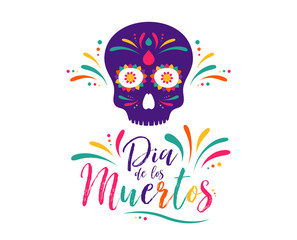 Dia de Muertos or day of the Dead. Skull banner for mexican celebration. Traditional mexico skeleton decoration with flowers and sugar skull colorful art. Day dead holiday. Vector