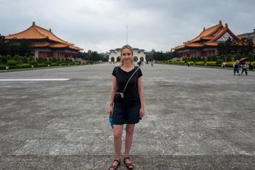 Blonce girl at the Kai-Shek Memorial Hall in Taipei, Taiwan.
