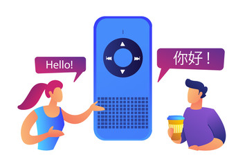 Two users speaking different languages and smart language translator vector illustration.
