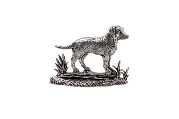 silver dog statuette isolate on white