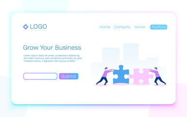 Web page. Business, teamwork and partnership concept. Landing page concept. Vector illustration
