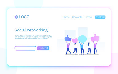 Web page. Social media or network concept. Landing page concept. Vector illustration