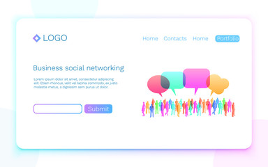 Web page. Business social networking. Landing page concept. Vector illustration