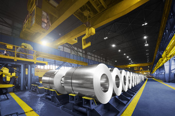 Packed rolls of steel sheet, Cold rolled steel coils Wall mural
