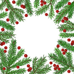 Background with realistic green fir tree branch and christmas berries. Place for text, congratulation. Christmas, New Year symbol.