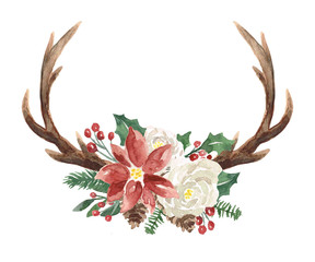 Watercolor Winter Wreath with Antlers