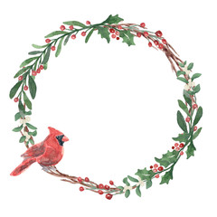 Watercolor Winter Wreath with Cardinal
