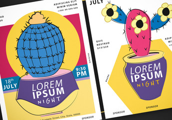 Event Flyer Layouts with Cactus Illustrations