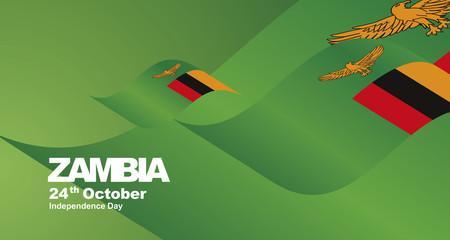 Zambia Independence Day flag ribbon landscape background