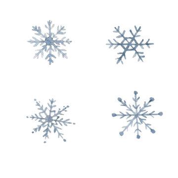 Watercolor Winter Snowflakes