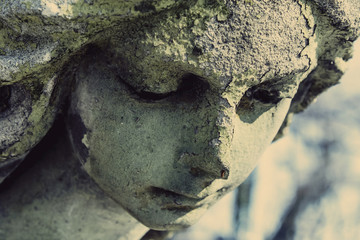 Fototapete - Death. Sad angel as symbol of pain, fear and end of life. Ancient sculpture.