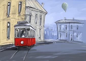 Tram. City landscape, digital paintings. Fine art.
