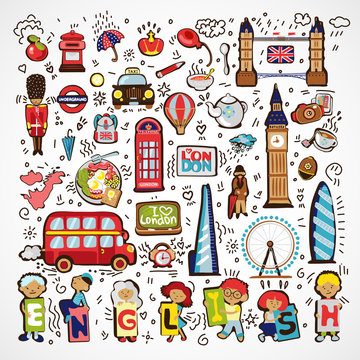 Set of Vector London Icons. Hand drawn England doodle icon. Famous architectural monuments, sign, symbols, icons. England educational and travel elements, icon - english bus, taxi, architectural