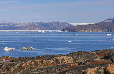 Looking across arctic waters to the Greenland Ice Cap