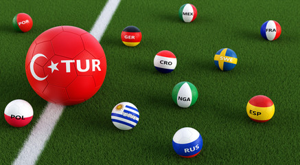 Big Soccer ball in Turkeys national colors surrounded by smaller soccer balls in other national colors. 3D Rendering