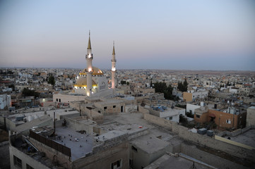 Madaba, Jordan, September 30th 2018: Panoramic photo of the southwestern part of Madaba with the mosque in the foreground