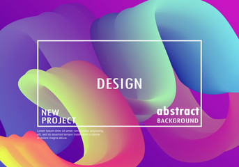 Trendy geometric background. 3d Fluid shape illustration. Vector illustration