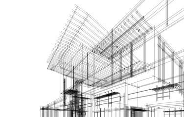 modern house building architecture 3d illustration