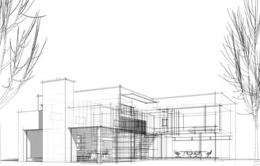modern house building architecture 3d illustration Fototapete