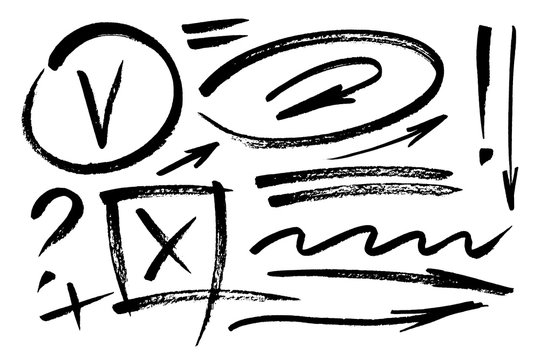 Vector hand drawn design elements. Ink brush drawn notes and marks. Set of artistic elements such as arrows, check box, underlines, question mark and exclamation point. Monochrome collection.
