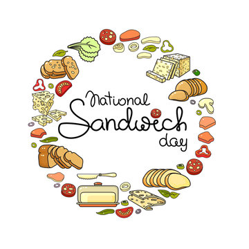 National Sandwich Day card. Vector set isolated on white.