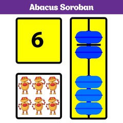 Abacus Soroban kids learn numbers with abacus, math worksheet for children Vector Illustration