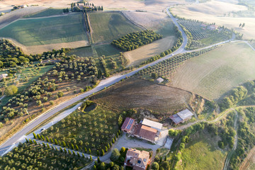 Flying over the countryside of the beautiful val d'Orcia siena Tuscany