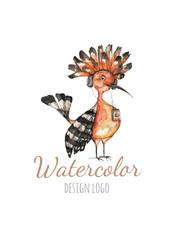 Watercolor logo templates. Colorful bird hoopoe in watercolor technique. Vector illustration.