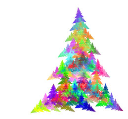 Abstract fractal Christmas tree, computer-generated image for cards, logo, invitation, design concepts, web, prints, posters.